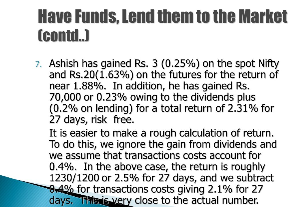 Have Funds, Lend them to the Market (contd..) 3. He takes delivery of the shares and waits. 4. While waiting, a few dividends come into his hands. The