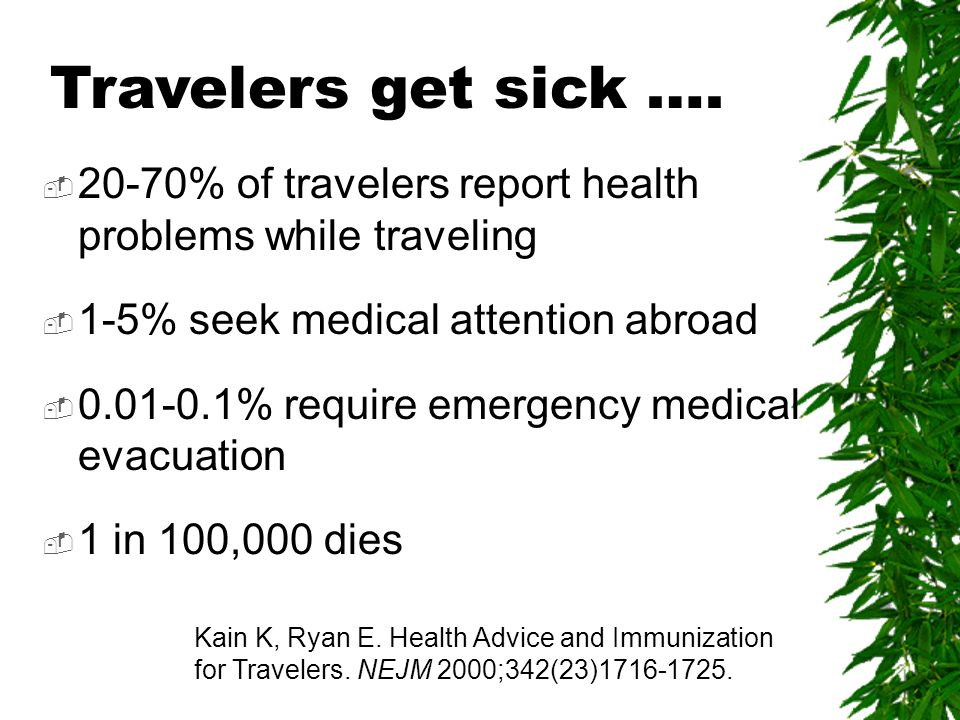 20-70% of travelers report health problems while traveling 1-5% seek medical attention abroad 0.01-0.1% require emergency medical evacuation 1 in 100,