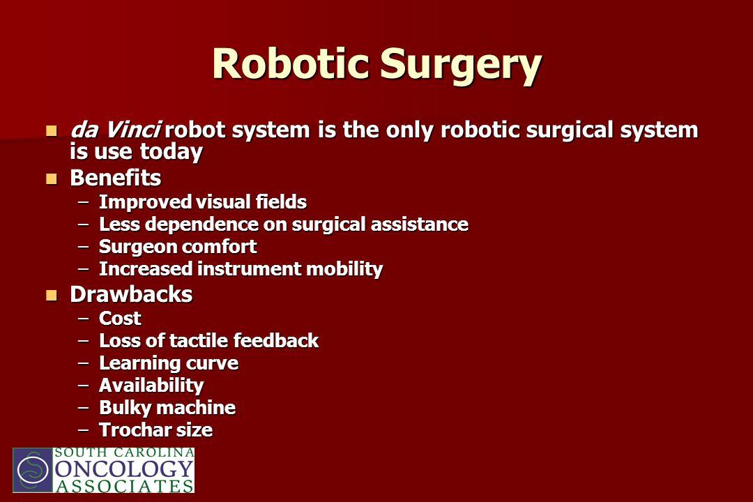 Robotic Surgery da Vinci robot system is the only robotic surgical system is use today da Vinci robot system is the only robotic surgical system is us