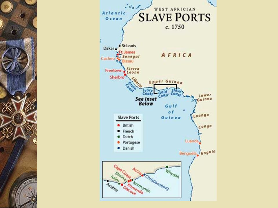 Africans in Americas African slaves brought to the Americas to work on plantations or in mines.
