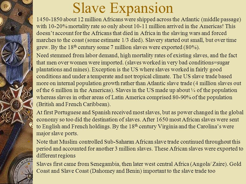 American Slave Societies Hierarchies developed with race and color something different than had existed in Africa Saltwater slaves –from Africa (black) Creole slaves – America born some where even mulattos Creole and especially mulattos given more opportunities like working as domestics and learning specialized skills.