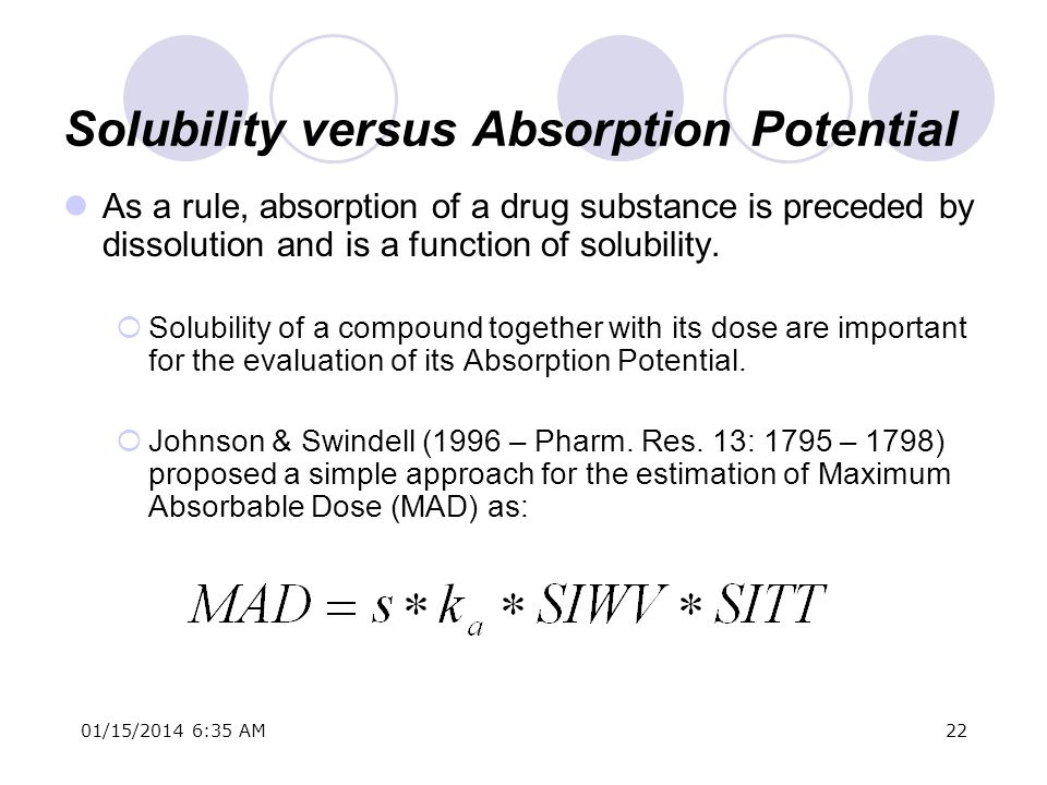 01/15/2014 6:37 AM22 Solubility versus Absorption Potential As a rule, absorption of a drug substance is preceded by dissolution and is a function of