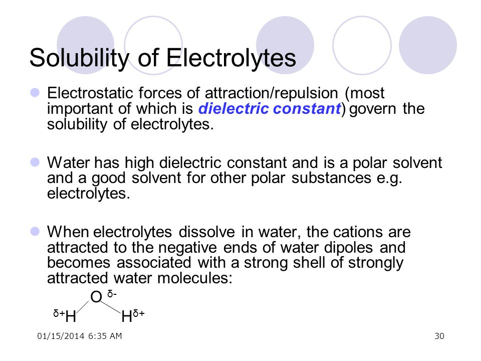 01/15/2014 6:37 AM30 Solubility of Electrolytes Electrostatic forces of attraction/repulsion (most important of which is dielectric constant) govern t