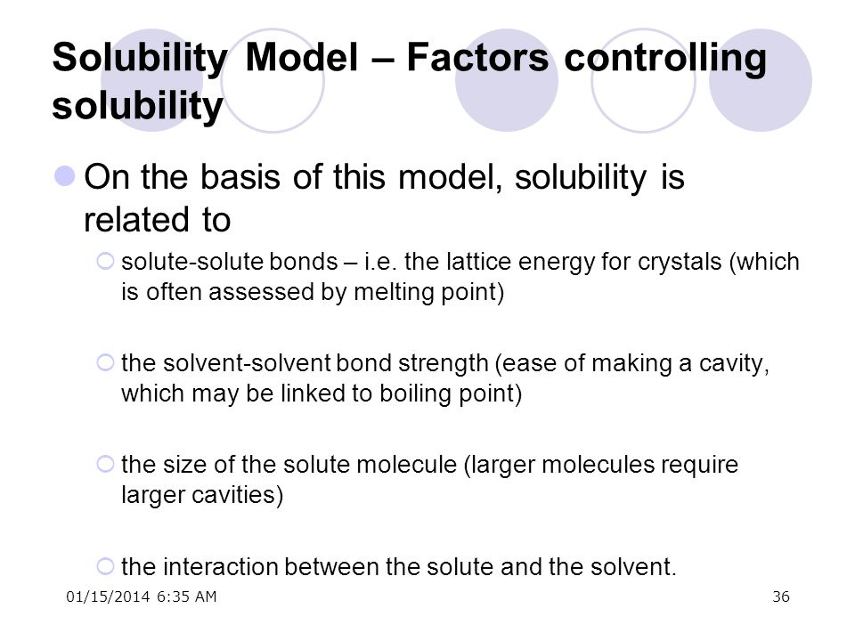 01/15/2014 6:37 AM36 Solubility Model – Factors controlling solubility On the basis of this model, solubility is related to solute-solute bonds – i.e.