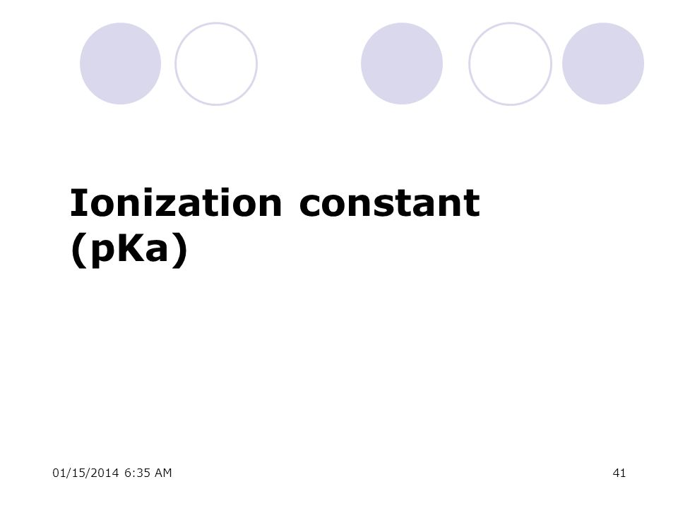 01/15/2014 6:37 AM41 Ionization constant (pKa)