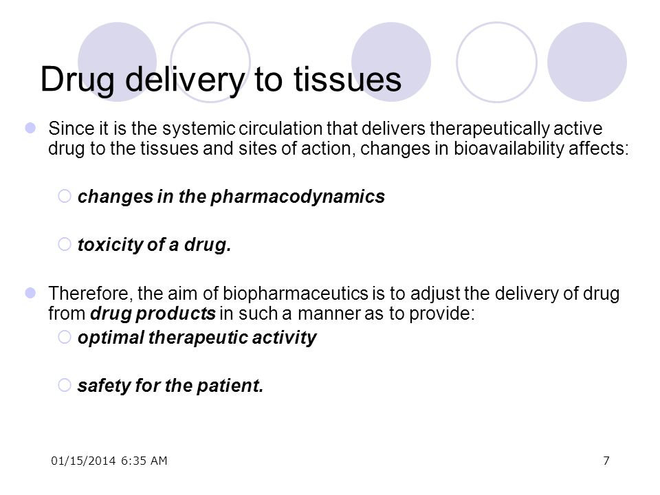 01/15/2014 6:37 AM7 Drug delivery to tissues Since it is the systemic circulation that delivers therapeutically active drug to the tissues and sites o