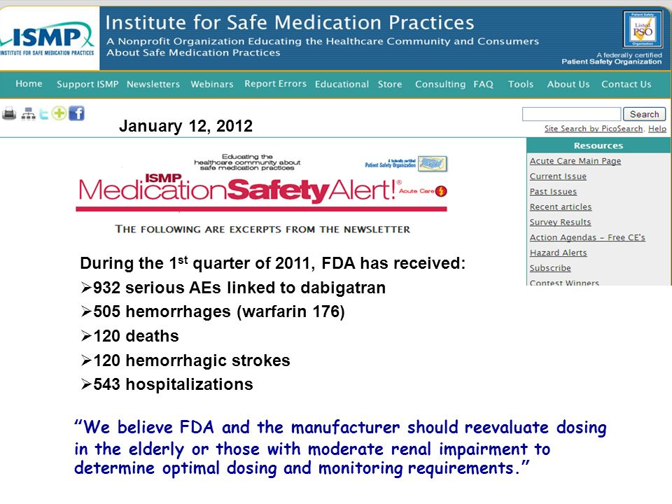 January 12, 2012 During the 1 st quarter of 2011, FDA has received: 932 serious AEs linked to dabigatran 505 hemorrhages (warfarin 176) 120 deaths 120