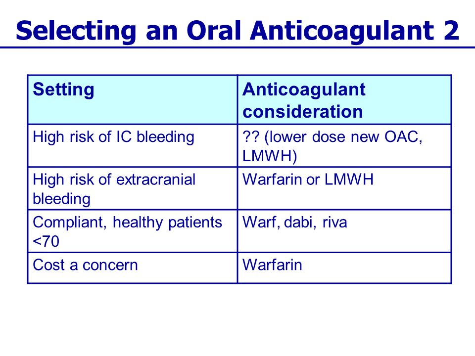 Selecting an Oral Anticoagulant 2 SettingAnticoagulant consideration High risk of IC bleeding?? (lower dose new OAC, LMWH) High risk of extracranial b
