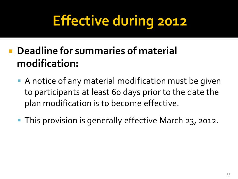 Deadline for summaries of material modification: A notice of any material modification must be given to participants at least 60 days prior to the dat