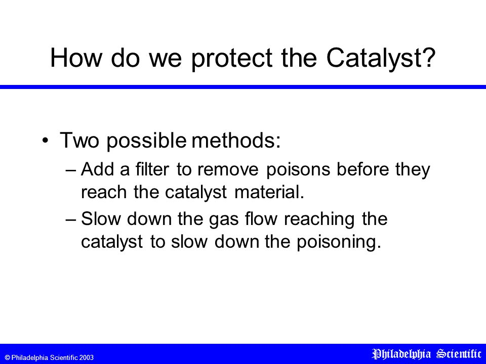 © Philadelphia Scientific 2003 Philadelphia Scientific How do we protect the Catalyst.