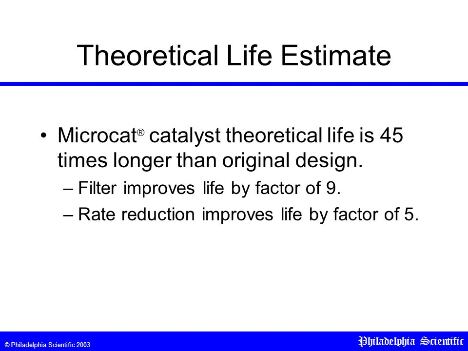 © Philadelphia Scientific 2003 Philadelphia Scientific Theoretical Life Estimate Microcat ® catalyst theoretical life is 45 times longer than original design.