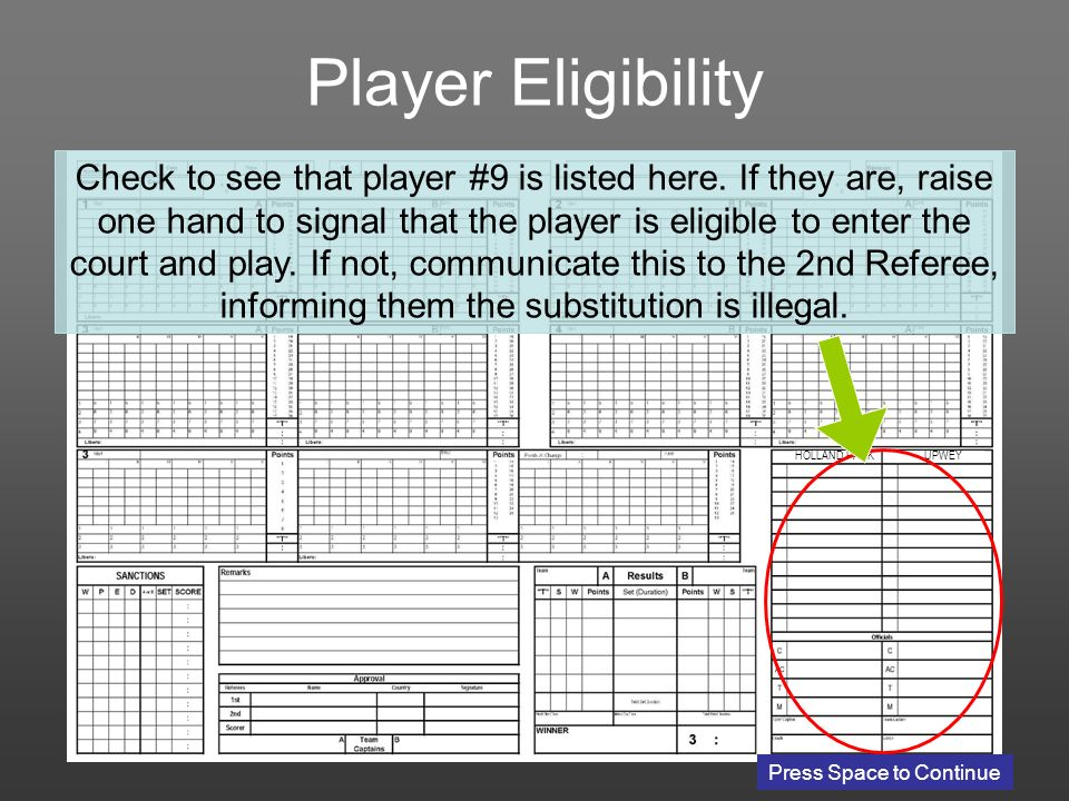 UPWEY Player Eligibility Check to see that player #9 is listed here.