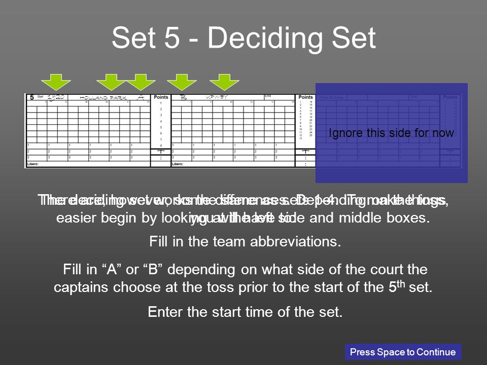 Press Space to Continue The deciding set works the same as sets 1-4.