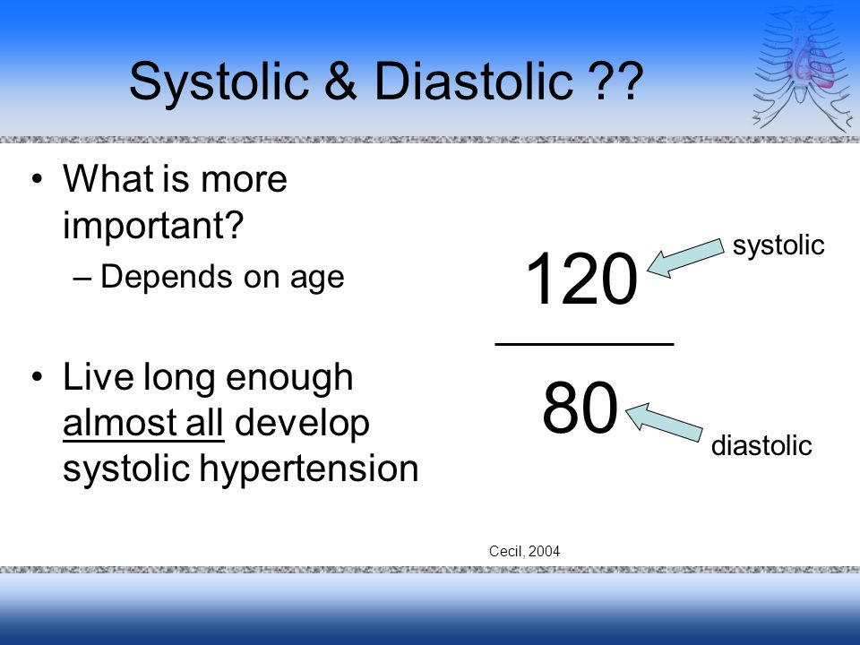 Systolic & Diastolic ?? What is more important? –Depends on age Live long enough almost all develop systolic hypertension 120 80 systolic diastolic Ce