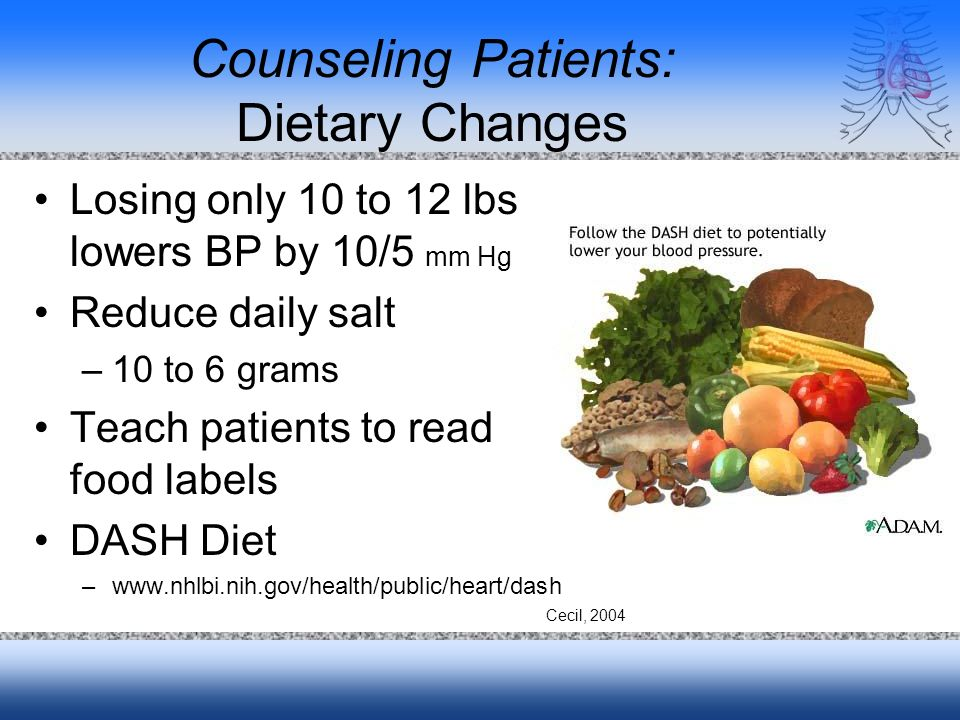 Counseling Patients: Dietary Changes Losing only 10 to 12 lbs lowers BP by 10/5 mm Hg Reduce daily salt –10 to 6 grams Teach patients to read food lab