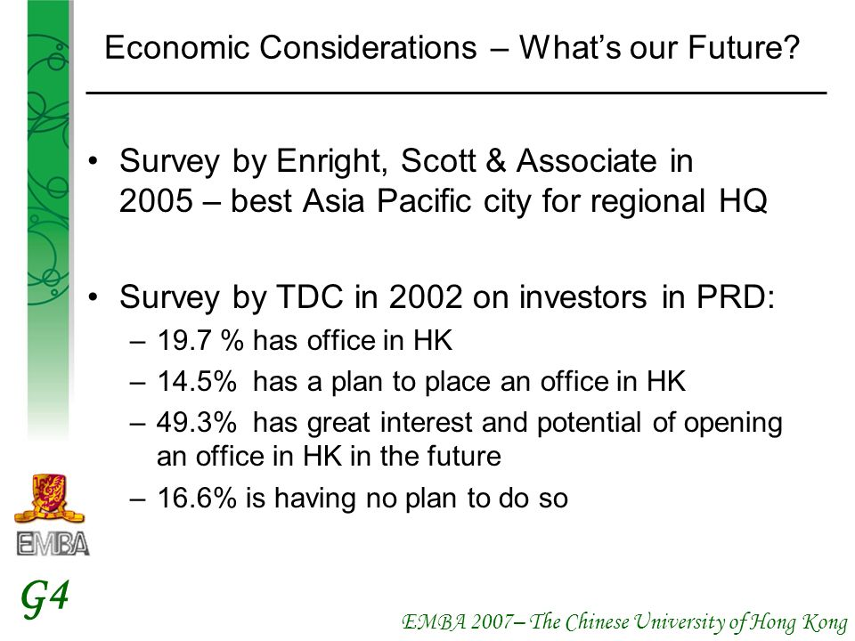 EMBA 2007– The Chinese University of Hong Kong G4 Economic Considerations – Whats our Future.