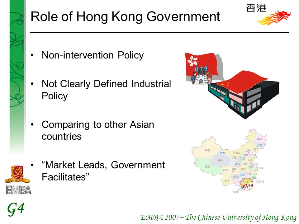 EMBA 2007– The Chinese University of Hong Kong G4 Role of Hong Kong Government Non-intervention Policy Not Clearly Defined Industrial Policy Comparing to other Asian countries Market Leads, Government Facilitates