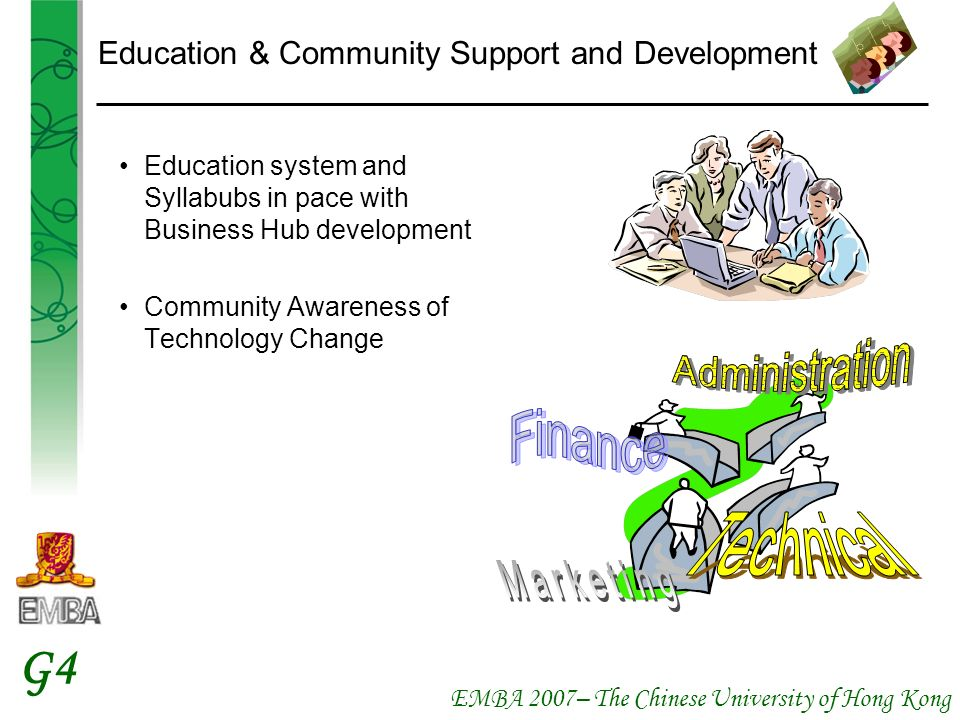 EMBA 2007– The Chinese University of Hong Kong G4 Education & Community Support and Development Education system and Syllabubs in pace with Business Hub development Community Awareness of Technology Change