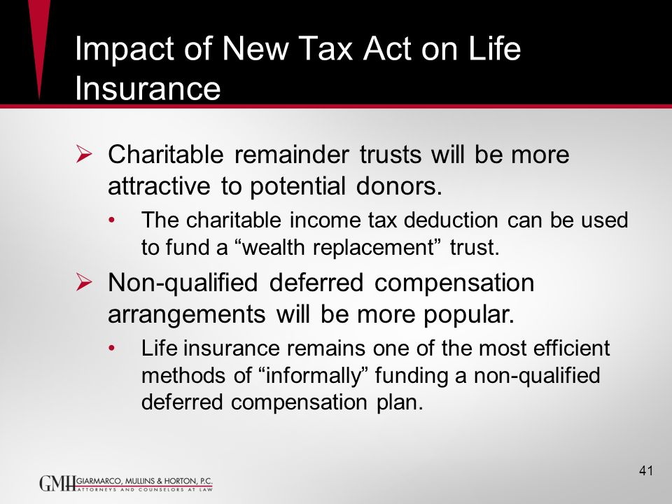41 Impact of New Tax Act on Life Insurance Charitable remainder trusts will be more attractive to potential donors. The charitable income tax deductio
