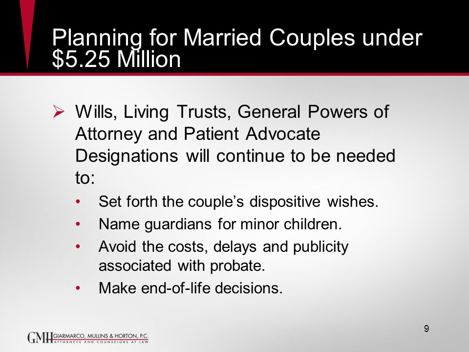 Planning for Married Couples under $5.25 Million Wills, Living Trusts, General Powers of Attorney and Patient Advocate Designations will continue to b