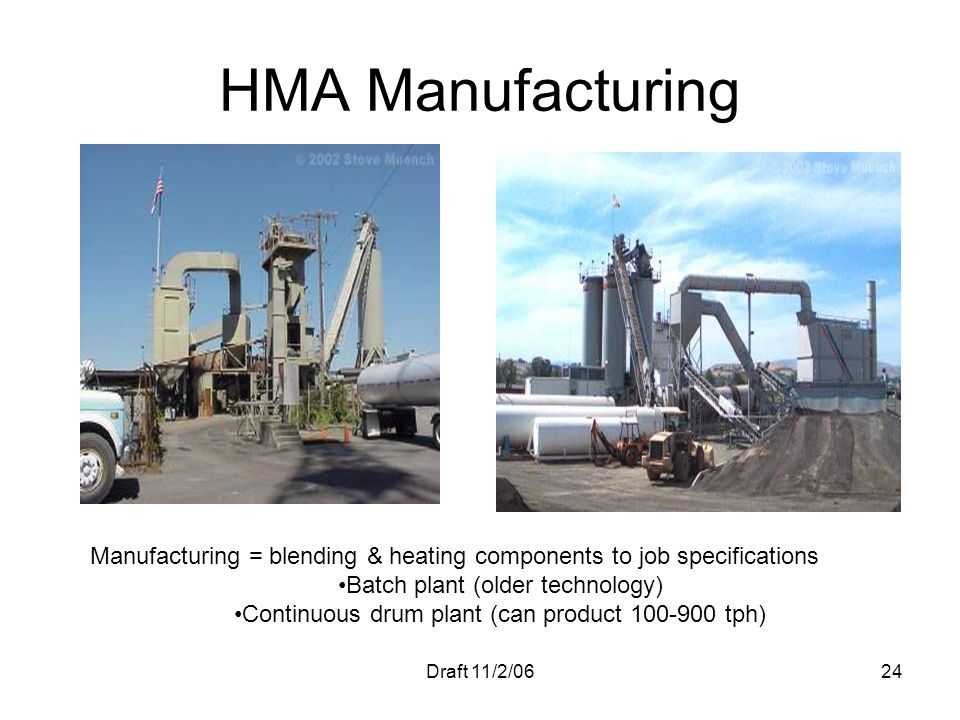 Draft 11/2/0624 HMA Manufacturing Manufacturing = blending & heating components to job specifications Batch plant (older technology) Continuous drum p