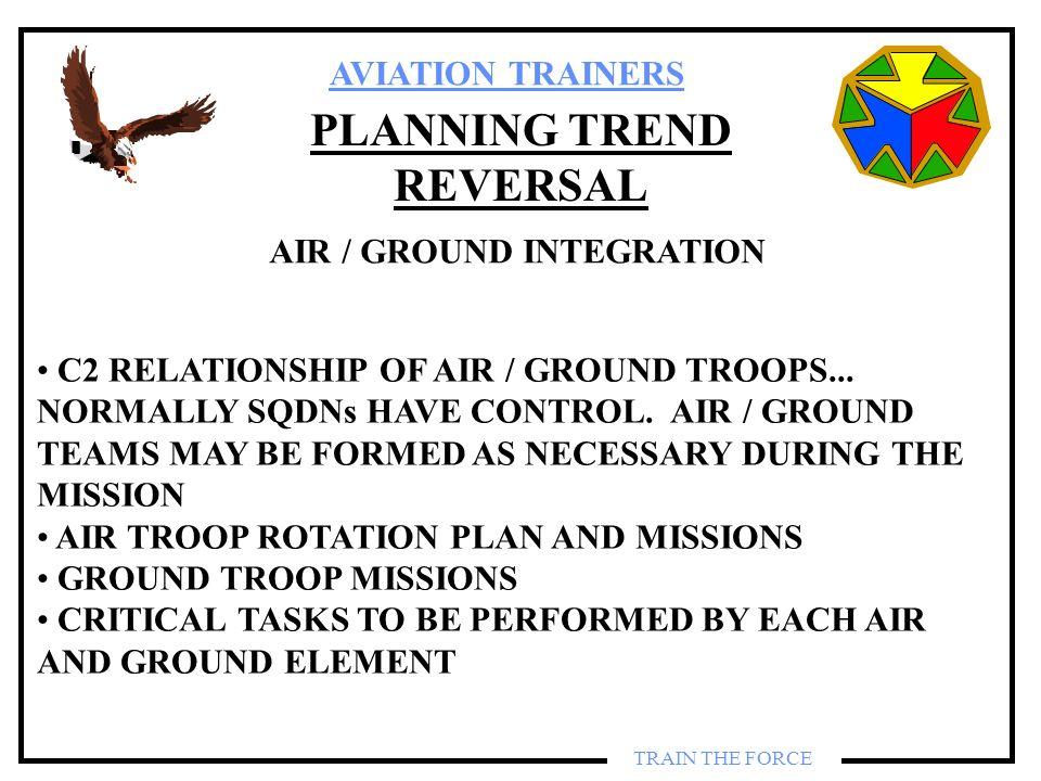 AVIATION TRAINERS TRAIN THE FORCE PLANNING TREND REVERSAL AIR / GROUND INTEGRATION C2 RELATIONSHIP OF AIR / GROUND TROOPS... NORMALLY SQDNs HAVE CONTR