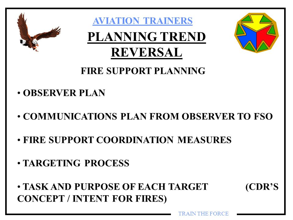 AVIATION TRAINERS TRAIN THE FORCE PLANNING TREND REVERSAL FIRE SUPPORT PLANNING OBSERVER PLAN COMMUNICATIONS PLAN FROM OBSERVER TO FSO FIRE SUPPORT CO
