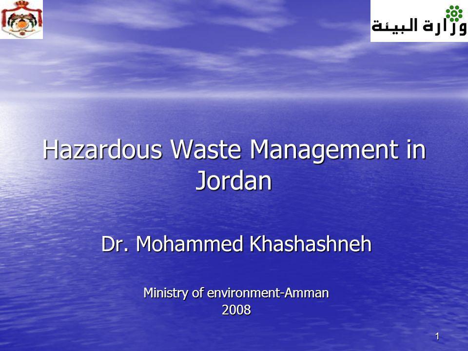 1 Hazardous Waste Management in Jordan Dr. Mohammed Khashashneh Ministry of environment-Amman 2008