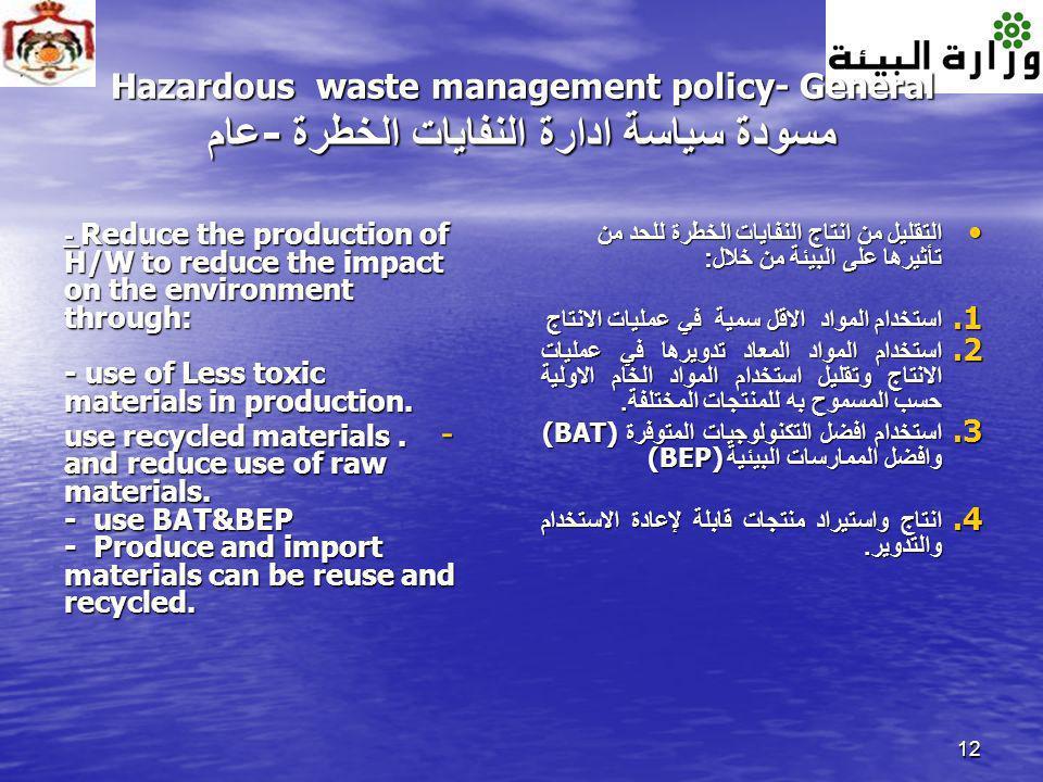 12 Hazardous waste management policy- General مسودة سياسة ادارة النفايات الخطرة - عام - Reduce the production of H/W to reduce the impact on the envir