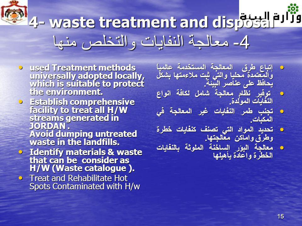 15 4- waste treatment and disposal 4- معالجة النفايات والتخلص منها used Treatment methods universally adopted locally, which is suitable to protect th