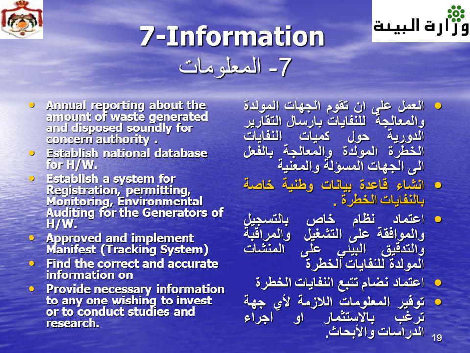 19 7-Information 7- المعلومات Annual reporting about the amount of waste generated and disposed soundly for concern authority. Annual reporting about