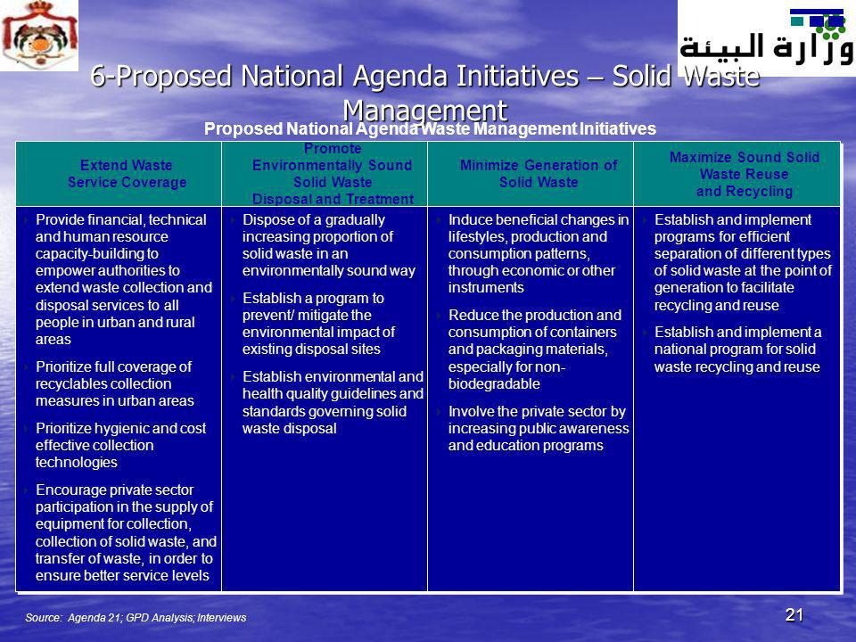 21 Extend Waste Service Coverage Promote Environmentally Sound Solid Waste Disposal and Treatment 6-Proposed National Agenda Initiatives – Solid Waste