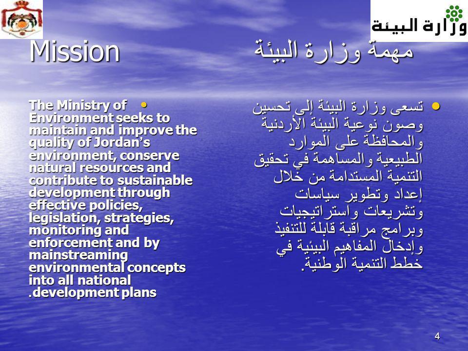 4 مهمة وزارة البيئة Mission The Ministry of Environment seeks to maintain and improve the quality of Jordan s environment, conserve natural resources