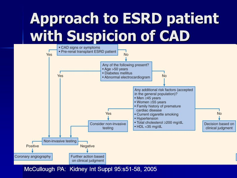 Approach to ESRD patient with Suspicion of CAD McCullough PA: Kidney Int Suppl 95:s51-58, 2005
