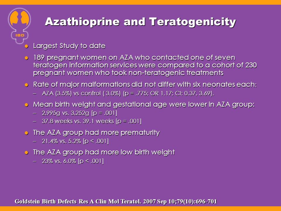 Azathioprine and Teratogenicity Largest Study to date Largest Study to date 189 pregnant women on AZA who contacted one of seven teratogen information