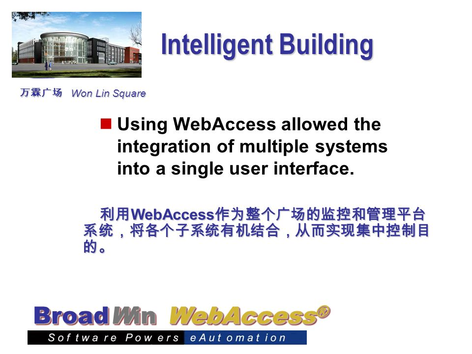 WebAccess ® BroadWin Intelligent Building Using WebAccess allowed the integration of multiple systems into a single user interface. WebAccess WebAcces