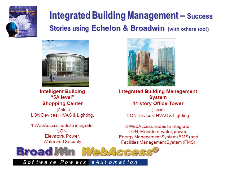 WebAccess ® BroadWin Integrated Building Management – Success Stories using Echelon & Broadwin (with others too!) Integrated Building Management Syste