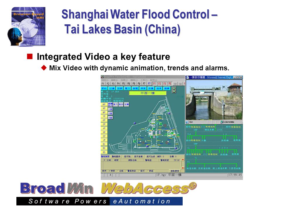 WebAccess ® BroadWin Shanghai Water Flood Control – Tai Lakes Basin (China) Integrated Video a key feature Mix Video with dynamic animation, trends an