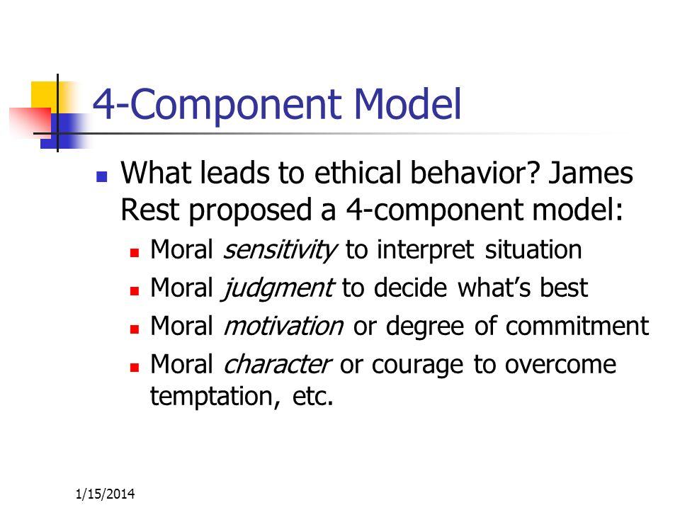 1/15/2014 4-Component Model What leads to ethical behavior? James Rest proposed a 4-component model: Moral sensitivity to interpret situation Moral ju