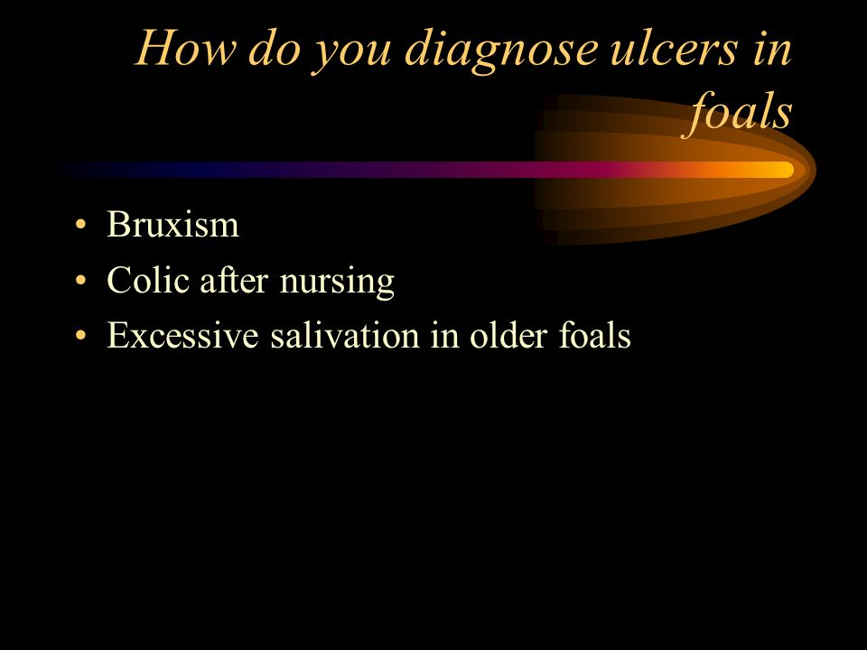How do you diagnose ulcers in foals Bruxism Colic after nursing Excessive salivation in older foals