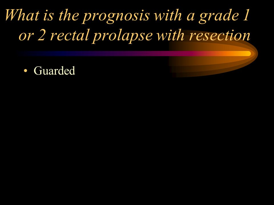 What is the prognosis with a grade 1 or 2 rectal prolapse with resection Guarded