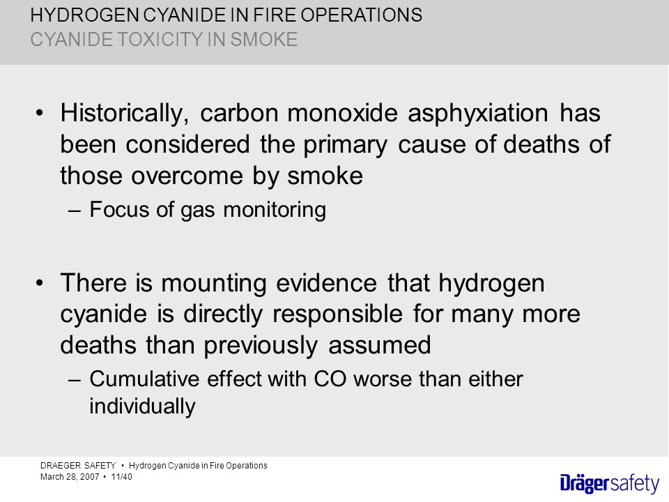 HYDROGEN CYANIDE IN FIRE OPERATIONS Historically, carbon monoxide asphyxiation has been considered the primary cause of deaths of those overcome by sm