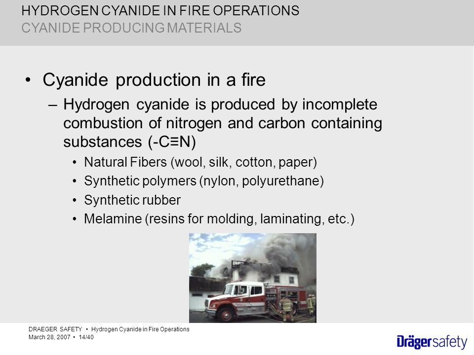 HYDROGEN CYANIDE IN FIRE OPERATIONS Cyanide production in a fire –Hydrogen cyanide is produced by incomplete combustion of nitrogen and carbon contain