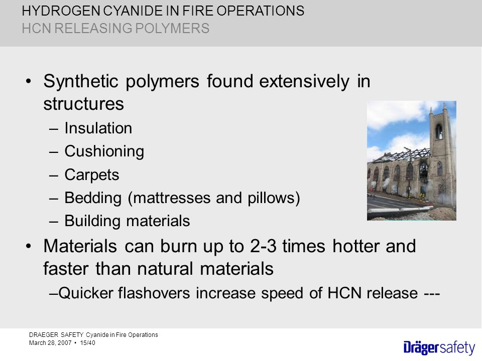 HYDROGEN CYANIDE IN FIRE OPERATIONS Synthetic polymers found extensively in structures –Insulation –Cushioning –Carpets –Bedding (mattresses and pillo