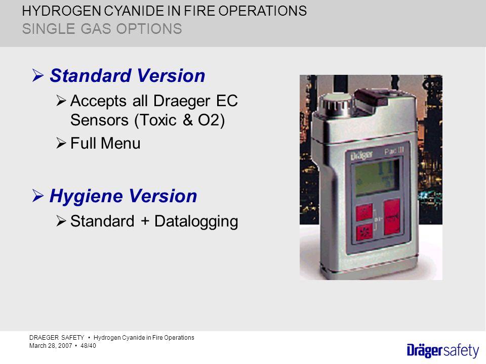 HYDROGEN CYANIDE IN FIRE OPERATIONS SINGLE GAS OPTIONS Standard Version Accepts all Draeger EC Sensors (Toxic & O2) Full Menu Hygiene Version Standard