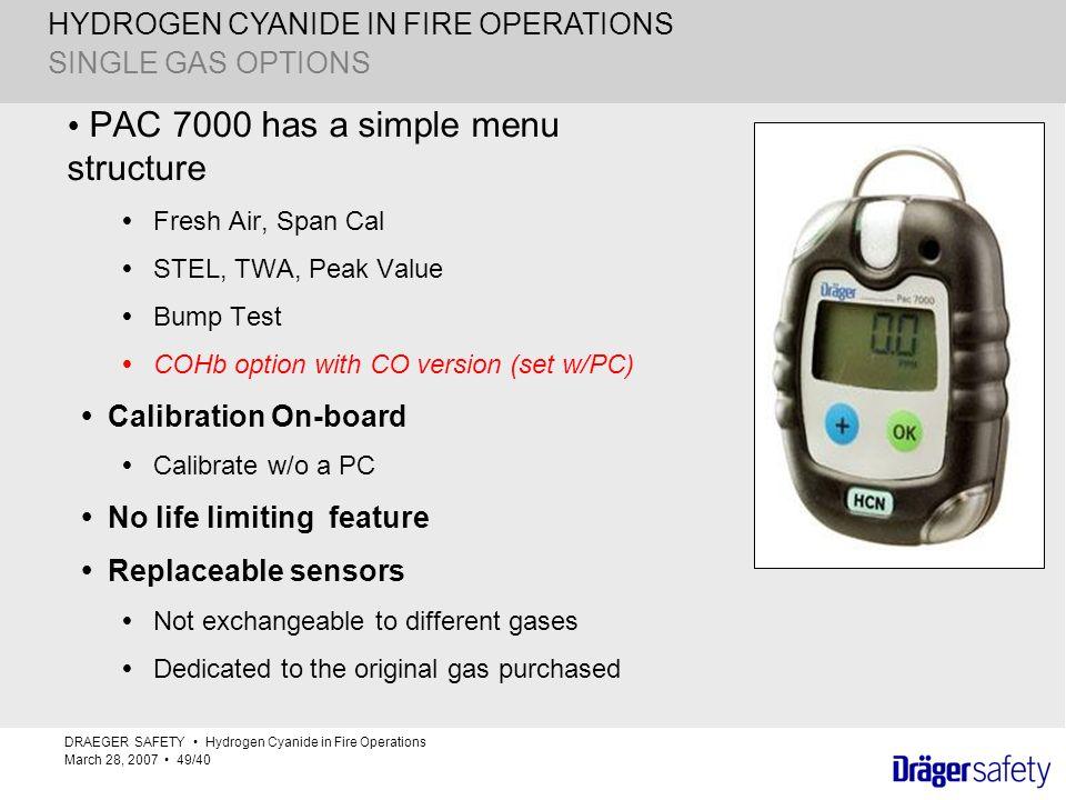 HYDROGEN CYANIDE IN FIRE OPERATIONS SINGLE GAS OPTIONS PAC 7000 has a simple menu structure Fresh Air, Span Cal STEL, TWA, Peak Value Bump Test COHb o