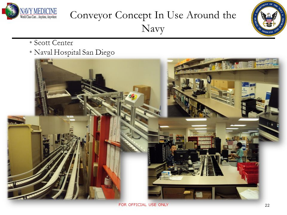 Conveyor Concept In Use Around the Navy Scott Center Naval Hospital San Diego FOR OFFICIAL USE ONLY 22