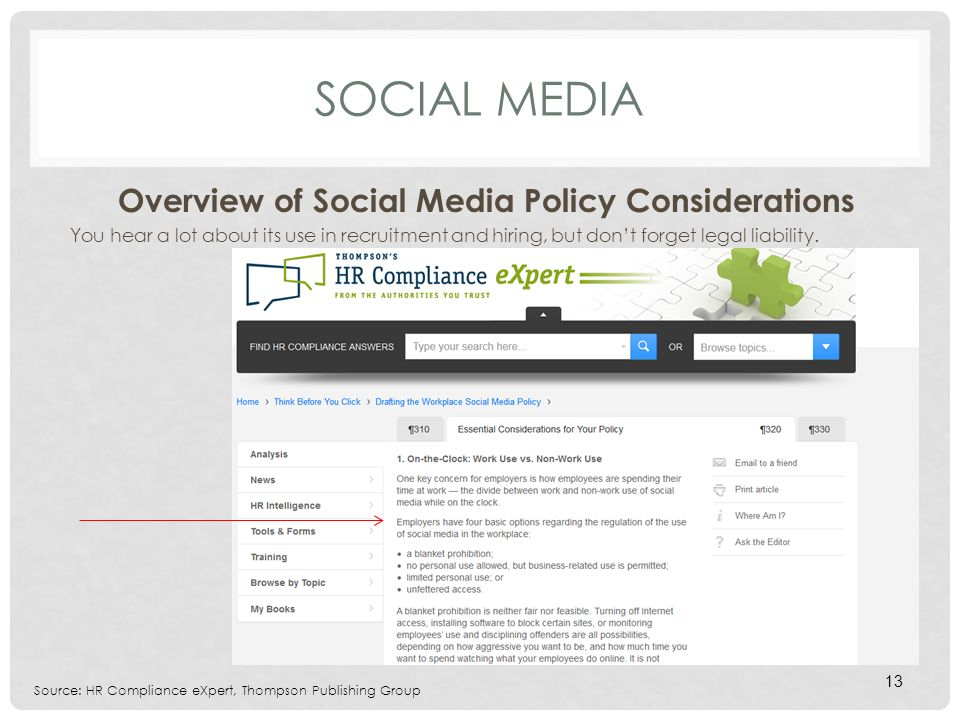 SOCIAL MEDIA Overview of Social Media Policy Considerations You hear a lot about its use in recruitment and hiring, but dont forget legal liability.