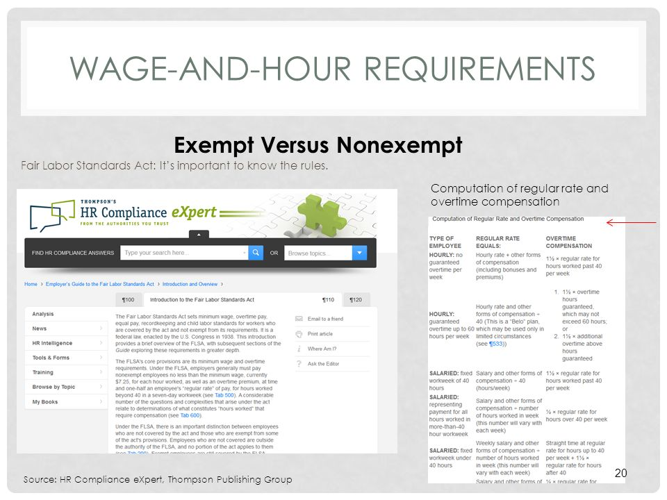 WAGE-AND-HOUR REQUIREMENTS Fair Labor Standards Act: Its important to know the rules.
