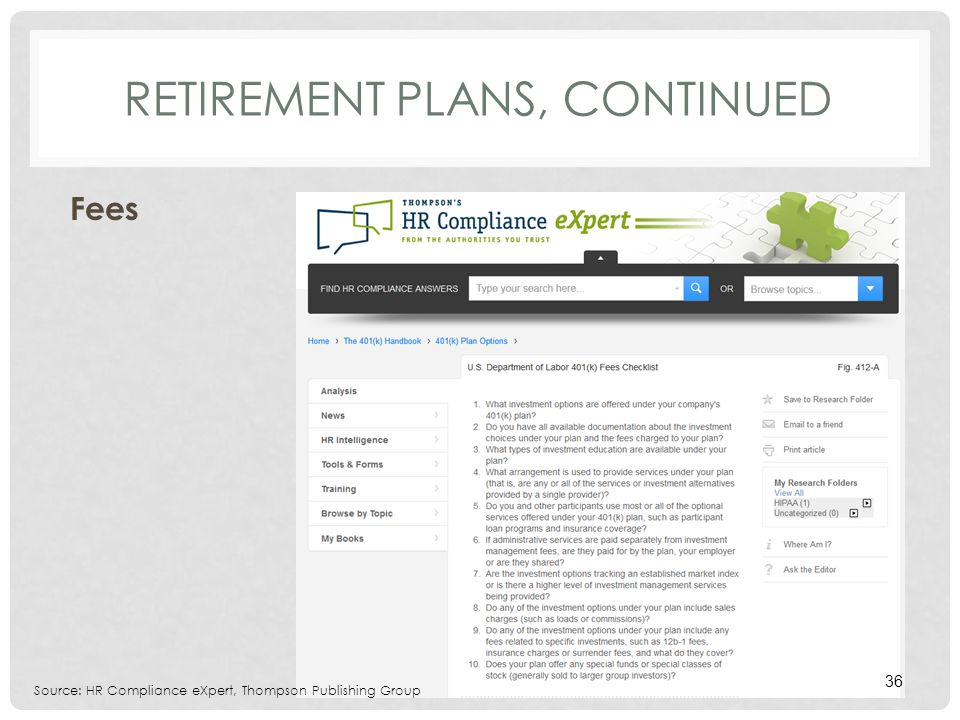 RETIREMENT PLANS, CONTINUED Fees Source: HR Compliance eXpert, Thompson Publishing Group 36